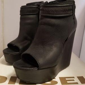 Diesel Shoes - Diesel Dianay Black Leather Open Toe Booties